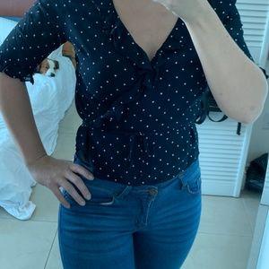 Ralph Lauren polka dot wrap bluse